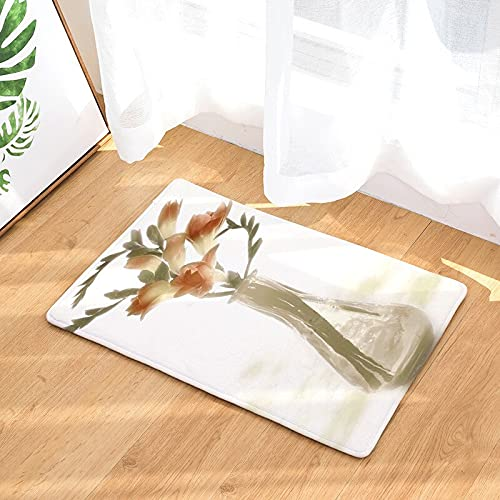 OPLJ Felpudo con Estampado Floral, Felpudo de Bienvenida para la Entrada de la decoración del hogar, Alfombra Lavable Antideslizante para Cocina y baño A4 50x80cm