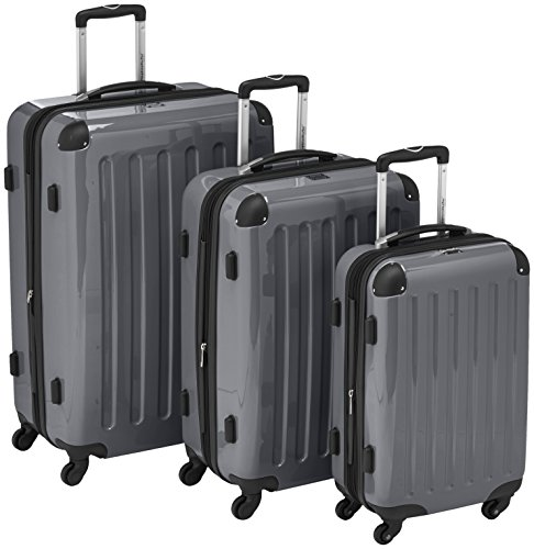 HAUPTSTADTKOFFER - Alex - 3er Koffer-Set Trolley-Set Rollkoffer Reisekoffer Erweiterbar, 4 Rollen, (S, M & L), Titan