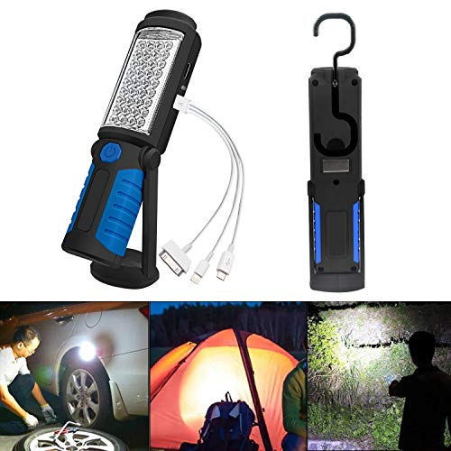 SunTop Linterna LED, LED Lámpara de Inspección Recargable Linterna de Trabajo, Portátil Lampara de Inspeccion COB LED Luz con Magnético Soporte y Gancho Colgante