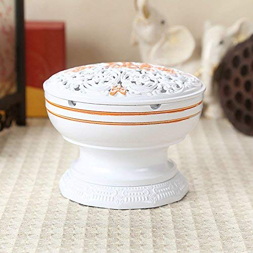 JIGUANG Cigar Ashtray Bronze Ashtrays High-End Desktops Sandalwood Incense Vaporizer Bedroom Living Room European-Style Home with Buddha Ornaments, Red Bronze,Colour:White Baby's Breath 烟灰缸