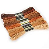 TONGDAUR 8pcs / Set similares Hilo de Bordar Hilos de algodón de Punto de Cruz Floss 8 Metros de Hilo Bordado de Hilo Dental de Costura madejas Arte del Tejido (Color : Brown Series, Size : Gratis)