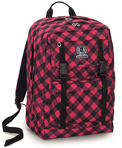 Backpack Duffy Invicta , PLAID , Red Tartan , 30 Lt , Double Compartment , Internal Laptop Sleeve , School & Leisure