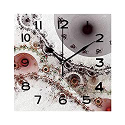 ALUONI Print Square Wall Clock, 8 Inch Abstract Surreal Magic Machine Digital Artwork for Creative Graphic Design Quiet Desk Clock for Home,Office,School No137284