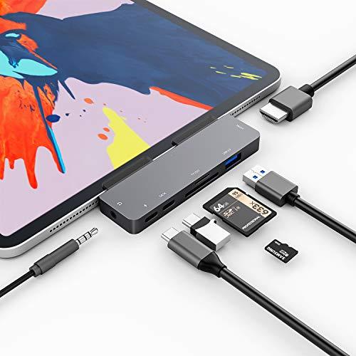 3XI USB C Hub für iPad Pro 2018 2020,7 in 1 Typ C auf HDMI 4K Adapter 60W PD Ladeanschluss USB 3.0 Anschlüsse SD/TF Kartenleser Typ c Datenschnittstelle 3.5mm Klinkenanschluss kompatibel mit MacBook