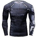 Cody Lundin® de los Hombres Compresión Deporte Apretado Camisa Winter Warrior Cosplay Manga Larga Rutina Ejercicio Camiseta (M)