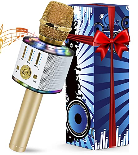 Microfono Karaoke, 5 in 1 Bluetooth Microfono Bambini con Luci LED Multicolore per Cantare, Wireless Portatile Karaoke Player con Altoparlante per Android iOS, PC e Smartphone