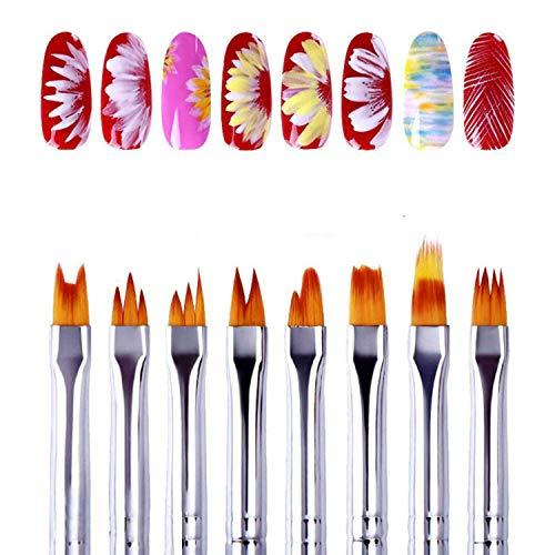 GOMING 8Pcs 3D Nail Art Brush, Acrylic Painting Brush Set Poly Kit Gel DIY Flower Drawing Pen White Handle Manicure Nail Art Brush Tool for Girls Women