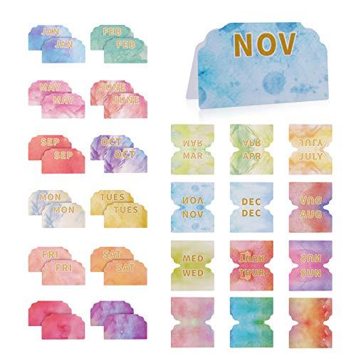 Juego de 240 pestañas adhesivas mensuales coloridas y pestañas semanales para planificadores, calendario mensual con fichas de índice, separadores mensuales