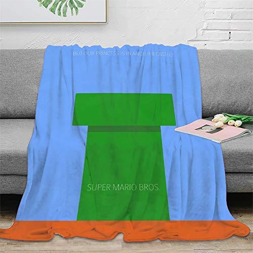 Super Mario Bros. Mantas personalizadas mullidas y cómodas de lana de felpa cómoda sofá cama super manta de fibra 50 x 70 pulgadas (130 x 180 cm)