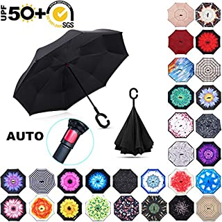 ABCCANOPY Inverted Umbrella,Double Layer Reverse Windproof Teflon Repellent Umbrella for Car and Outdoor Use, UPF 50+ Big Stick Umbrella with C-Shaped Handle and Carrying Bag, 30+ Multi Colors