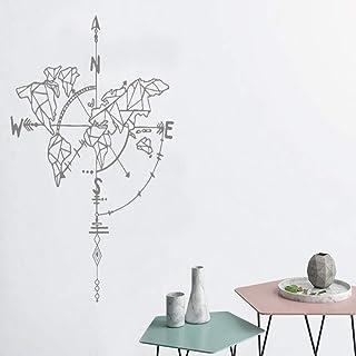 Art World Map Con Flecha Etiqueta de la pared Brújula Vinilo Pegatina Sala de estar Pegamento Desmontable Pasta Flor Creativa Azul Marino 42x58cm