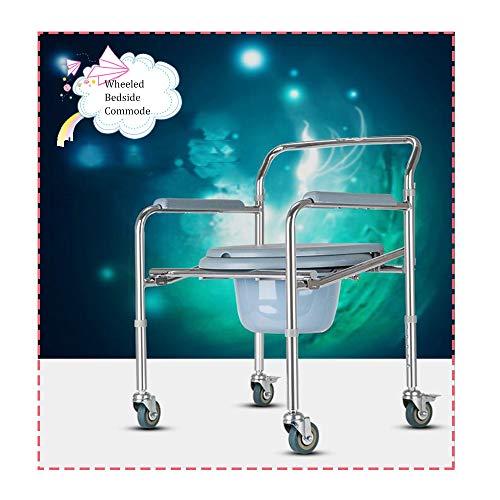 HRD Silla Baño con Inodoro-Unidad, Silla WC con Ruedas, Silla Sanitaria con Ruedas, Silla De Interior con Inodoro, 360°C Rotación, con Frenos