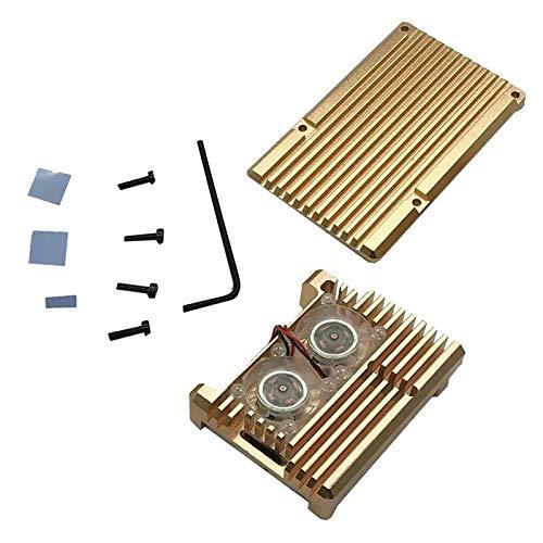 Hellery Funda Protectora de Aleación de Aluminio con Ventilador de Refrigeración Doble para Raspberry Pi 4
