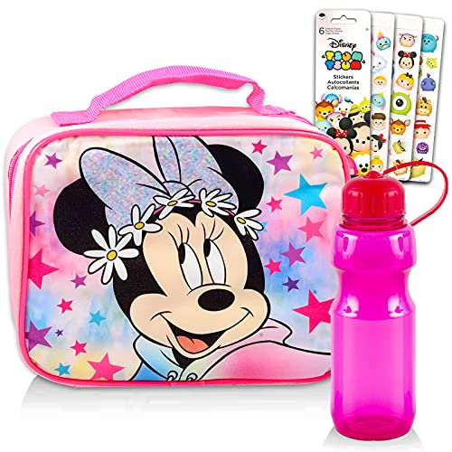 Disney Minnie Mouse Lunch Bag Bundle ~ Minnie Mouse Lunch Box Set For Minnie Mouse School Supplies, Travel, And More With Water Bottle And Stickers (Minnie Mouse School Bag)