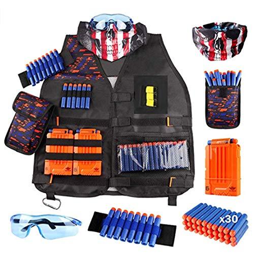 Chaleco táctico de niños Equipado con Pistola de Agua, Pistola Suave, Conjunto de Accesorios de la Serie de Ataque, Pulsera de máscara táctica y Gafas Protectoras para niños