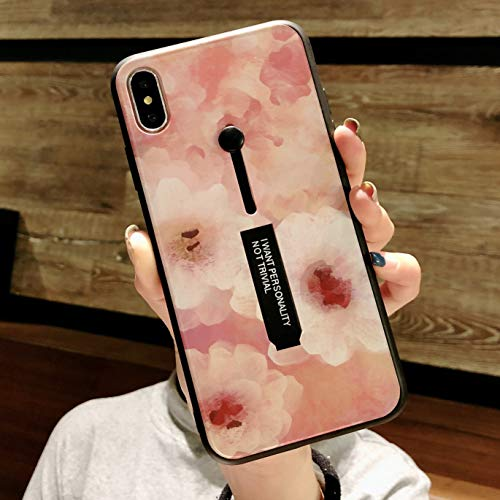 Omio for iPhone XR Case Oil Painting Flower Petal Cute Loop Case Cover with Finger Strap Ring Holder Grip Kickstand Fashion Abstract Art Creative Slim Fit Shock Absorption Bumper Case for iPhone XR
