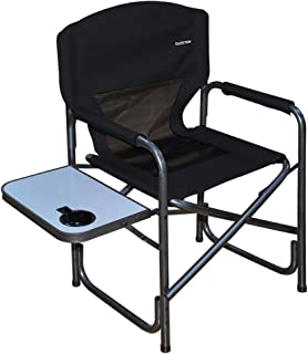 Suzeten Oversized Deck Chair Folding Camping Portable Lightweight Chair with Mesh Back Pocket, Side Table for Camping Outdoor Fishing, Supports to 225 lbs, Black