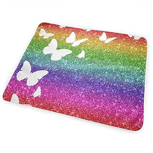 Changing Mat,Rainbow Glitter Butterfly Collage Tapis De Change Pour Bébé Accrocheur Pour Lit De Voyage À Domicile 65x80cm
