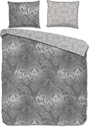Descanso Juego de cama de satén Mako, 2 piezas, funda nórdica de 155 x 220 cm, funda de almohada de 80 x 80 cm, color gris