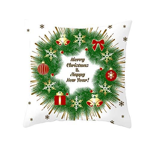 Beydodo Cojines Fundas Navideñas,Funda de Cojin 1 Pieza Funda Cojin 40X40 Nordico,Guirnalda de Navidad Bolas de Decoración de Navidad y Copos de Nieve Verde Rojo