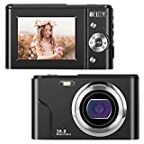 IEBRT Digital Camera,Video Camera 1080P Mini Camera Vlogging Camera LCD Screen 16X Digital Zoom 36MP Rechargeable Point and Shoot Camera for Compact Portable Kids Teens Gift(Black)