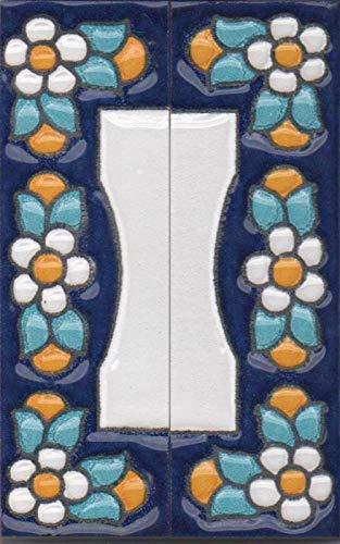 Hausnummern und Buchstaben aus Keramik, blaues Blumenmuster, Fliesengröße: 7,5 cm x 2 x 2,5 cm