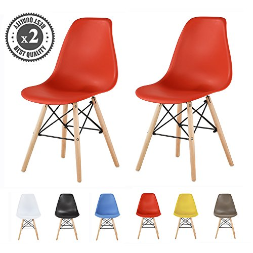 MCC Retro Design Stühle LIA Esszimmerstühle im 2er Set, Eiffelturm inspirierter Style für Küche, Büro, Lounge, Konfernzzimmer etc, 6 Farben, Kult (rot)