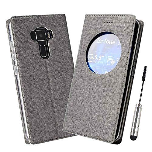 Ycloud Geschäft PU Leder Tasche für Asus ZenFone 3 (5.2zoll) ZE520KL Wallet Flipcase mit Standfunktion Kartenfächer Entwurf Grau Leinen Stil Hülle