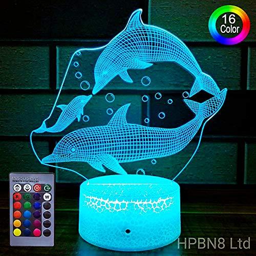 Ilusión Optica 3D Delfín Lámpara luz Nocturna Lámpara 7/16 Colores Control Remoto USB Power Juguetes Decoración Navidad Cumpleaños Regalo