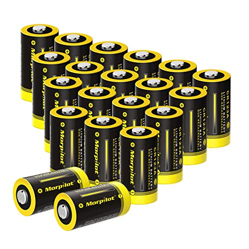 3V CR123A Lithium Battery, High Capacity 20 Pack 1500mAh...