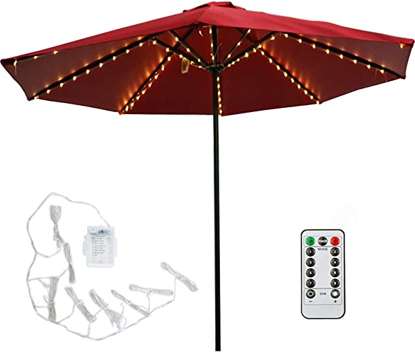 Patio LED Umbrella String Lights 104 LEDs 8 Lighting Mode With Remote Control Umbrella Lights Battery Operated Waterproof Outdoor Lighting For Patio Umbrellas Outdoor Use Camping Tents Warm White