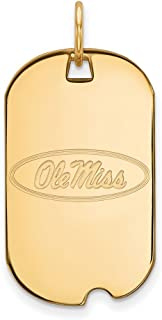 Jewelry Stores Network University of Mississippi Rebels School Logo Dog Tag Pendant Gold Plated Silver