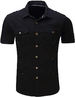 chouyatou Men's Summer Lightweight Outdoor Military Style Button-Down Casual T-Shirt