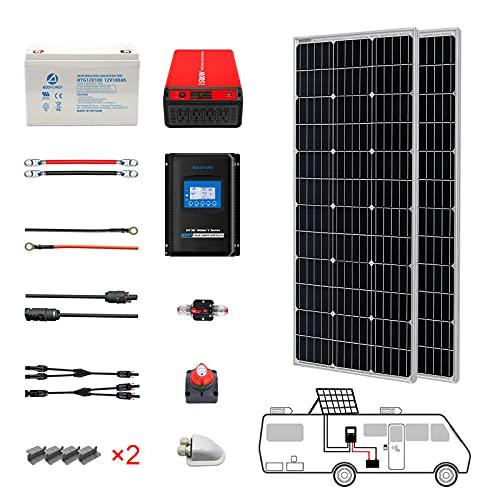 ACOPOWER 200 Watt (2pcs 100W Mono) Solar Panel Kit + 1500 Watt Power Inverter + Gel Battery Bank for RV, Boat, Cabin, Off-Grid 12 Volt Battery System