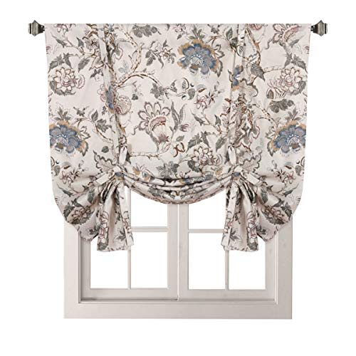 H.Versailtex Thermal Insulated Blackout Curtain Adjustable Tie Up Shade Rod Pocket Panel for Small Window-42 Wide by 63' Long-Vintage Floral Pattern in Sage and Brown