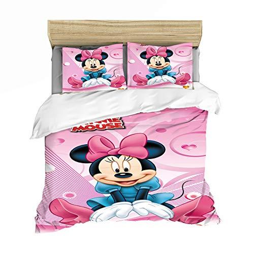 YZDM - Juego de cama y funda de almohada, diseño de Mickey y Minnie Love, 2/3 piezas, estampado de microfibra