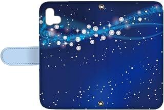 スマQ arrows U 801FJ 国内生産 ミラー スマホケース 手帳型 FUJITSU 富士通 アローズユー 【A.ブルー】 星空と音符 ami_q0006-z0040
