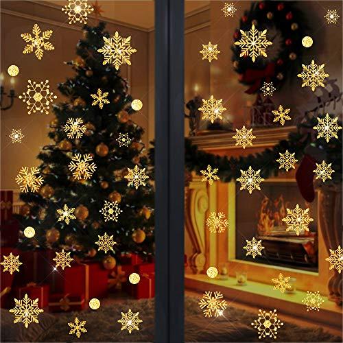 WELLXUNK 96 Schneeflocken Fensterbild Abnehmbare Fensterdeko Statisch Haftende PVC Aufkleber Winter Dekoration