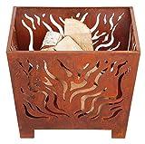Esschert Design - Brasero Cuadrado (Acabado Oxidado, Varios tamaños)