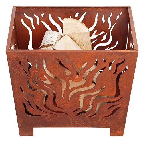 Esschert Design Feuerkorb, Feuerstelle, in rost, quadratisch, Größe S, ca. 39 cm x 39 cm x 30 cm