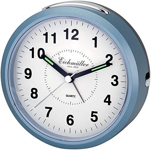 Eichmüller Wecker rund mit Alarm Weckwiederholung und Licht Blau