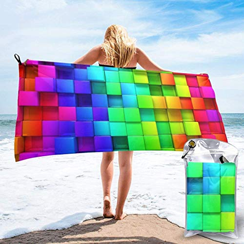 shenguang Rainbow Color Plaid Printed Travel Quick Dry Bath Towels Sports Gym Microfiber Beach Towels Camping Swimming Compact Towel