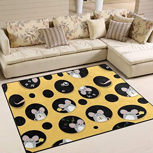 Mr.Lucien Alfombra de área para dormitorio, rata, queso, lindo, animal, decoración interior, jardín, oficina, suelo, alfombra antideslizante para cocina, baño, 160 x 122 cm 2020312