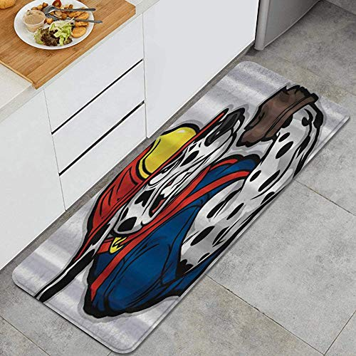 GEEVOSUN Küchenläufer Waschbar rutschfest Küchenmatte Dalmatiner starker Muskel Küche Fußmatte Badematten