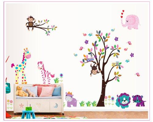 Rainbow Fox Zoo : hiboux sur arbre avec girafe et L?we sous f pour chambre d'enfant Df5099
