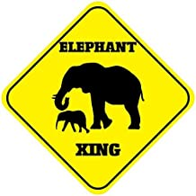 LilithCroft99 Elephant Crossing Signs Square Funny Metal Signs for Home Decor Kids Room Gate Yard Sign Novelty Gifts 12