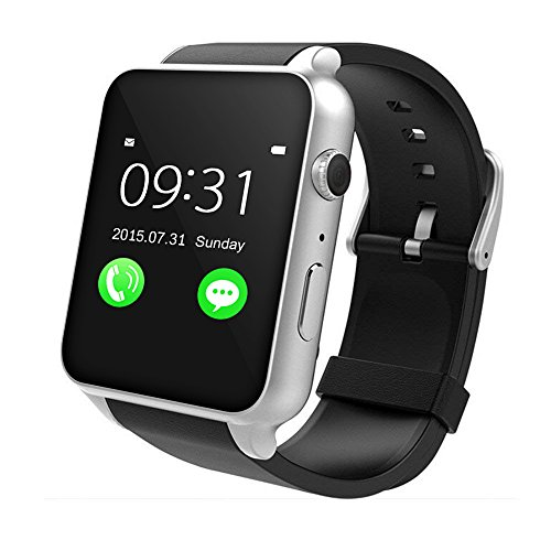 Viga Europe Yarrashop Smartwatch Android Uhr Phone Watch Support SIM mit Whatsapp for Android Samsung Galaxy S3/S4/S5/Note2/Note3/Note4 HTC Sony LG Xiaomi Huawei ZUK and iPhone schwarz (Silver)