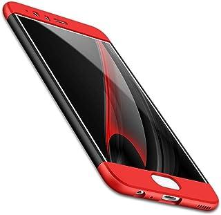 Huawei P10 Plus - جراب نحيف هجين مضاد للصدمات صلب - أحمر وأسود