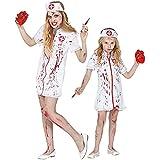 Widmann - Costume infirmière zombie 2 pièces robe rouge et blanc fille bavure sang...