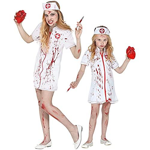 WIDMANN - Disfraz infantil de enfermera zombi, 2 piezas, vestido, tocado rojo y blanco, para nias, hemorragia, mdica, hospital, disfraz, fiesta temtica, carnaval, Halloween.